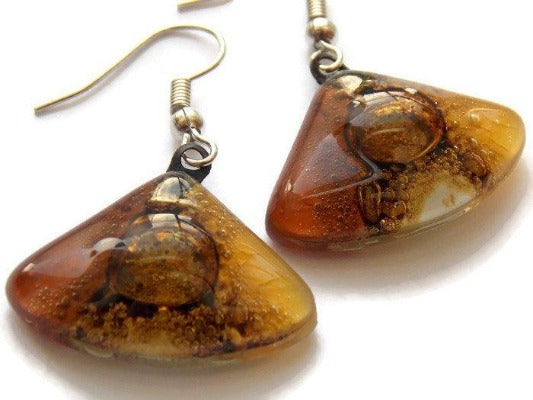 Earth Tones Recycled Glass earrings. Beige Brown and Terracotta fan shape drop Earrings - Handmade Recycled Glass Jewelry