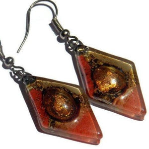 Diamond Shaped Red,Beige, coral and Brown Bubble Earrings. Glass Earrings. Drop earrings - Handmade Recycled Glass Jewelry