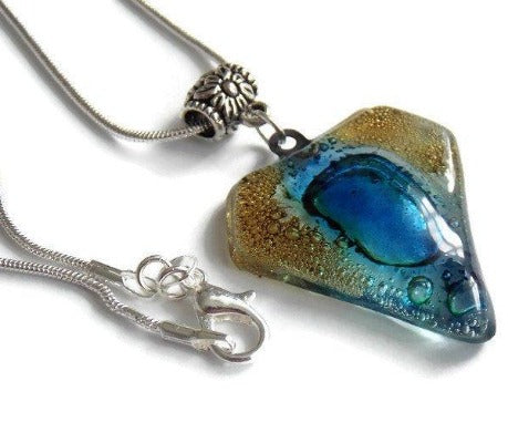 Fused Glass Pendant . Blue Brown Glass Necklace. Silver Plated Chain. Unique Glass art - Handmade Recycled Glass Jewelry