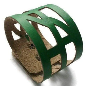 "Green Leather ""Self-Empowering"" Wrist Band. Leather Cuff Bracelet. - Handmade Recycled Glass Jewelry"