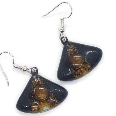 Black white and brown Fan shape recycled fused glass drop earrings. Neutral colors dangle earrings. - Handmade Recycled Glass Jewelry