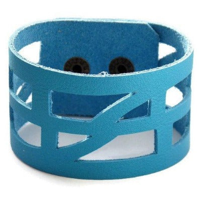 "Blue Leather ""Self_Empowering"" Wrist band.  Reclaimed Leather Cuff Bracelet - Handmade Recycled Glass Jewelry"