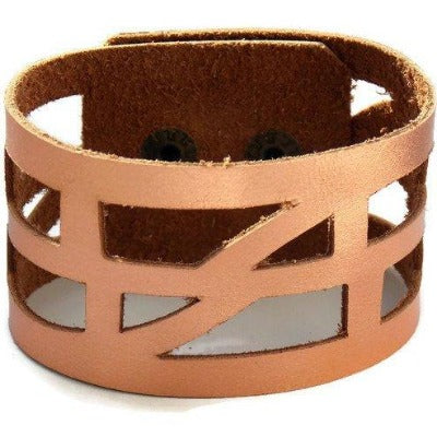 "Repurposed Leather Wrist band. ""self""empowering"" Copper Leather Cuff Bracelet"
