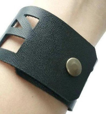 Black Leather bracelet. The Good vibes Leather Wrist Band. Reclaimed Leather cuff bracelet - Handmade Recycled Glass Jewelry