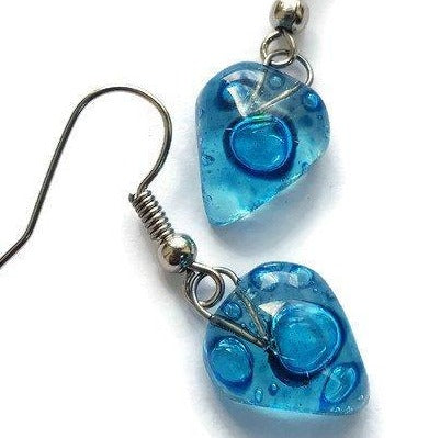 Small heart shapped blue fused glass drop Earrings. Turquoise Recycles Glass dangle Earrings. - Handmade Recycled Glass Jewelry
