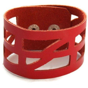 "Red Reclaimed Leather ""Self-Empowering"" Good Vibes Cuff bracelet. Leather Wrist band - Handmade Recycled Glass Jewelry"