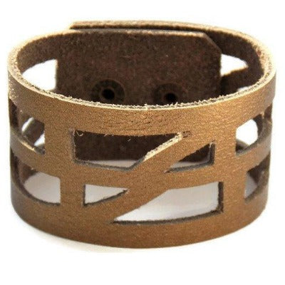 "Antique Bronze Color Reclaimed Leather ""Sel-Empowering"" Cuff Bracelet. Leather wrist Band - Handmade Recycled Glass Jewelry"