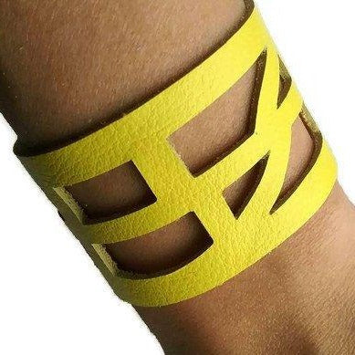 Yellow Reclaimed Leather wrist Cuff. Self Empowering Leather Bracelet. Leather band - Handmade Recycled Glass Jewelry