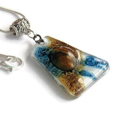 White brown and blue Pendant. Recycled GLass necklace. - Handmade Recycled Glass Jewelry