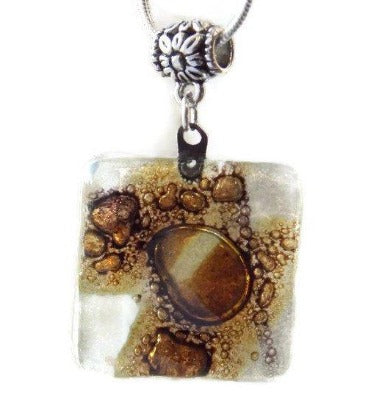 White, Brown and Purply Fused Glass pendant with lots of Bubble! Perfect Necklace, Easy to Match! - Handmade Recycled Glass Jewelry