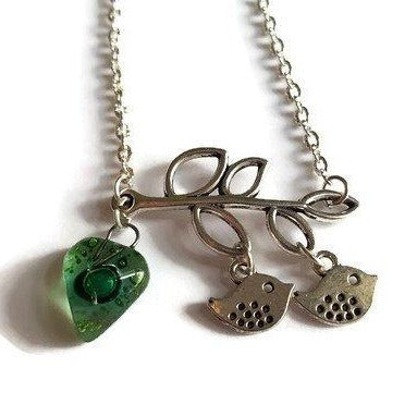 Green Recycled Glass Bead, Family Pendant. Bird Necklace. Recycled Glass Jewelry . - Handmade Recycled Glass Jewelry