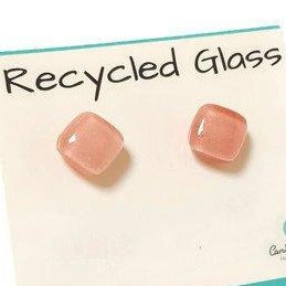 Small Post pink Earrings. Fused Glass Studs. Recycled Glass jewelry. Stud earrings - Handmade Recycled Glass Jewelry
