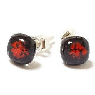 Small Post Black and Red Earrings. Fused Glass Studs. Recycled Glass jewelry. Stud earrings - Handmade Recycled Glass Jewelry