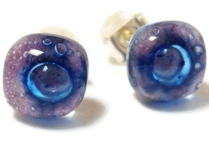 Small Post Lilac and Blue Earrings. Fused Glass Studs. Recycled Glass jewelry. Stud earrings - Handmade Recycled Glass Jewelry