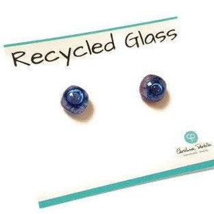 Small Post Lilac and Blue Earrings. Fused Glass Studs. Recycled Glass jewelry. Stud earrings