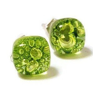 Small Post peridot Green  Earrings. Fused Glass Studs. Recycled Glass jewelry.