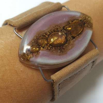 Leather cuff. Lilac  and  Brown Fused Glass and  light Brown leather Bracelet.