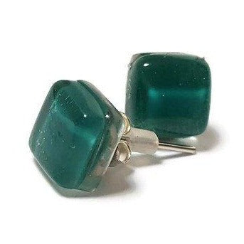 Post Earrings. Recycled glass Earrings. Teal Earrings Studs - Handmade Recycled Glass Jewelry