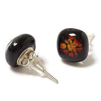 Post Earrings. Recycled glass Earrings. Black with yellow and red details Earrings Studs