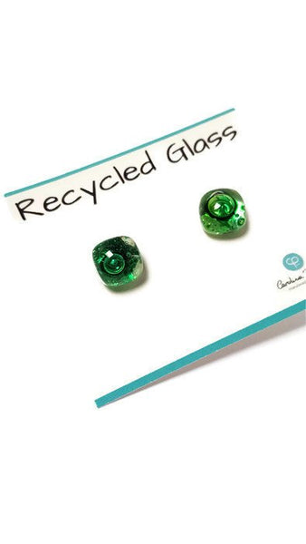 Post Earrings. Recycled glass Earrings. Green Earrings Studs