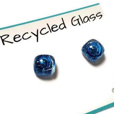 Post Earrings. Recycled glass Earrings. Blue Stud Earrings. Glass Jewlery