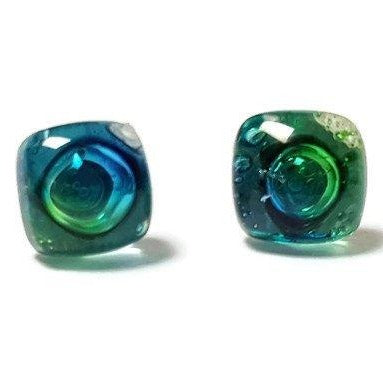 Post Earrings. Recycled glass Earrings. Blue, Turquoise and Green Earrings Studs. Glass Jewelry - Handmade Recycled Glass Jewelry