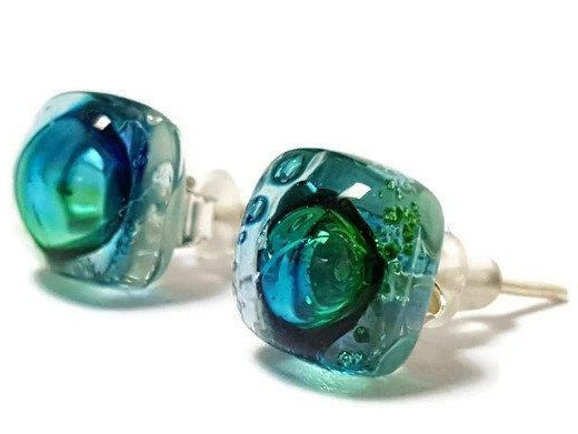 Post Earrings. Recycled glass Earrings. Blue, Turquoise and Green Earrings Studs. Glass Jewelry