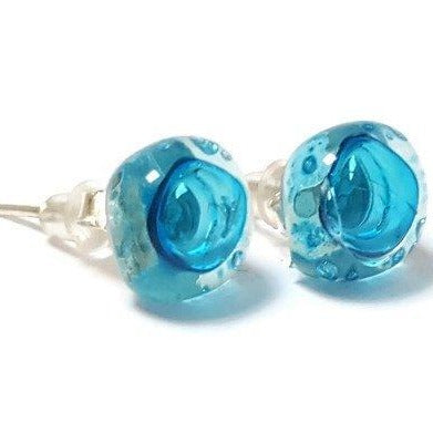 Post Earrings. Recycled glass Earrings. Turquoise Earrings Studs. Fused Glass Jewelry - Handmade Recycled Glass Jewelry