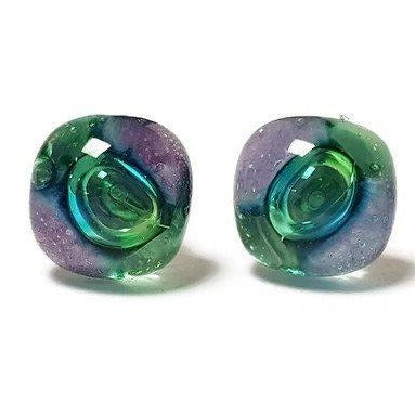 Post Earrings. Recycled glass Earrings. Purple and Green Earrings Studs. Fused Glass jewelry