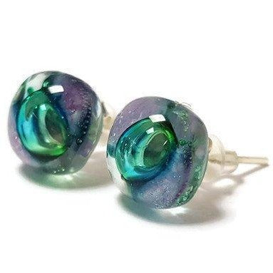 Post Earrings. Recycled glass Earrings. Purple and Green Earrings Studs. Fused Glass jewelry - Handmade Recycled Glass Jewelry