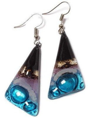 Fused Glass Jewelry. Black, Brown. lilac and Blue Triangle Earrings with Long drop Earrings