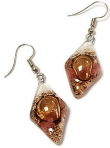 Fused glass Dangle Earrings. White, Pink and Brown Diamond Shaped Earrings