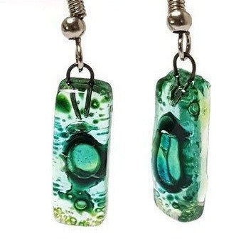 Small Rectangular Green recycled Glass Earrings. Fused Glass Jewelry - Handmade Recycled Glass Jewelry
