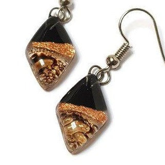 Small Diamond Shaped Black, brown and Cooper Recycled Fused Glass Earrings - Handmade Recycled Glass Jewelry