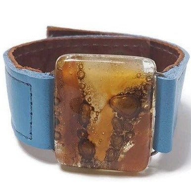 Leather cuff. Recycled Fused Glass earthy colors Bead and metallic baby blue Leather Bracelet Wristaband, Wrist cuff