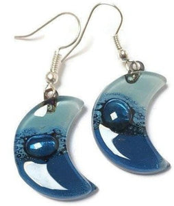 Blue Moon Earrings Recycled Glass Drop Earrings. Glass Jewelry
