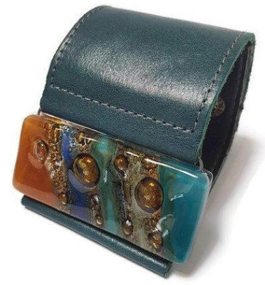 Wide Leather Cuff. Dark green Leather Bracelet. Terracotta, teal  brown and blue cuff