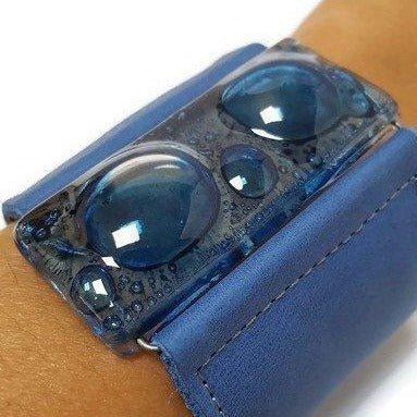 Wide Leather Cuff. Blue Leather Bracelet. Recycled glass Bracelet. Blue Cuff
