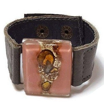 Gray Leather Cuff with a pink and brown Recycled Fused Glass Bead Leather Bracelet