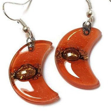 Red Moon Earrings Recycled Glass Drop Earrings. Glass Jewelry