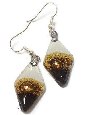 Fused Glass Black, white Brown Diamond Shape Recycled Glass Drop Earrings. Fused Glass