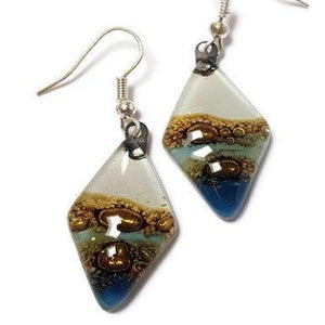 Fused Glass Blue, white and Brown Diamond Shape Recycled Glass Drop Earrings.
