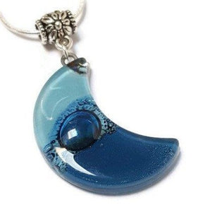 Blue Moon  Recycled Glass pendant. Fused Glass Necklace.