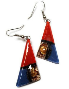 Red, Brown and blue triangle Earrings  Long drop Earrings. Recycled Fused Glass dangle earrings