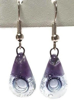 Fused Glass small Teardrop earrings. Lilac Drop earrings- Recycled Fused Glass dangle Earrings.