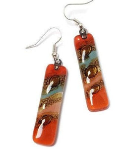 Long Multicolored Earrings Blue, brown, Red and Pink Fused Glass. Glass jewelry