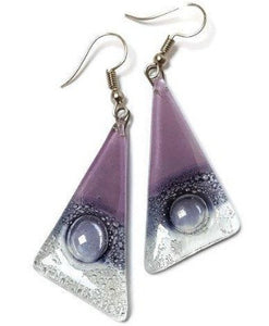 Fused Glass Jewelry. Lilac, and dark purple Triangle Earrings with Long drop Earrings