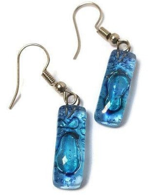 Small Rectangular blue recycled Glass Earrings. Fused Glass Jewelry - Handmade Recycled Glass Jewelry