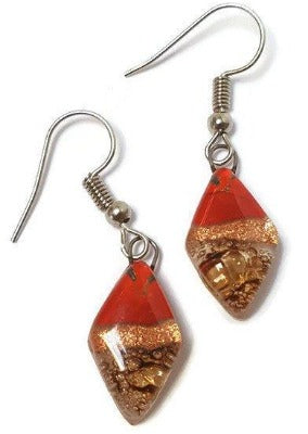 Small Diamond Shaped Red, Copper and brown Recycled Fused Glass Earrings