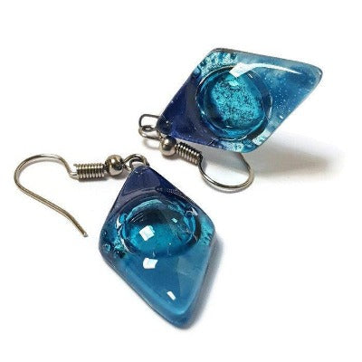 Fused glass Dangle Earrings.  Blue and Turquoise Diamond Shaped Earrings